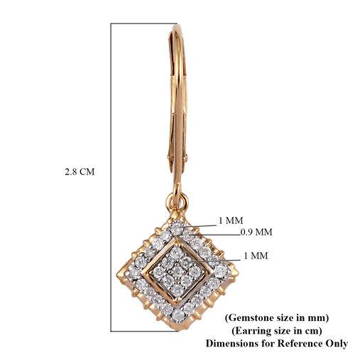 9K Yellow Gold  SGL Certified White Diamond (I3/G-H) Lever Back Earrings