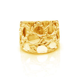 RACHEL GALLEY 14K Gold Overlay Sterling Silver Molten Band Ring, Silver wt 5.17 Gms.