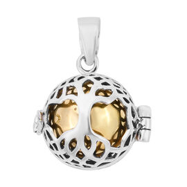 Royal Bali Collection - Yellow Gold Overlay Sterling Silver Tree of Life Harmony Ball Pendant, Silve