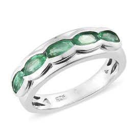 1 Carat AA Zambian Emerald 5 stone Ring in Platinum Plated Sterling Silver 3.38 Grams