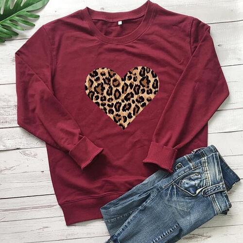 Kris Ana Leopard Heart Sweatshirt (Size S/ 8-10) - Maroon