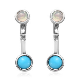 Arizona Sleeping Beauty Turquoise (Rnd), Ethiopian Welo Opal Detachable Earrings (with Push Back) in