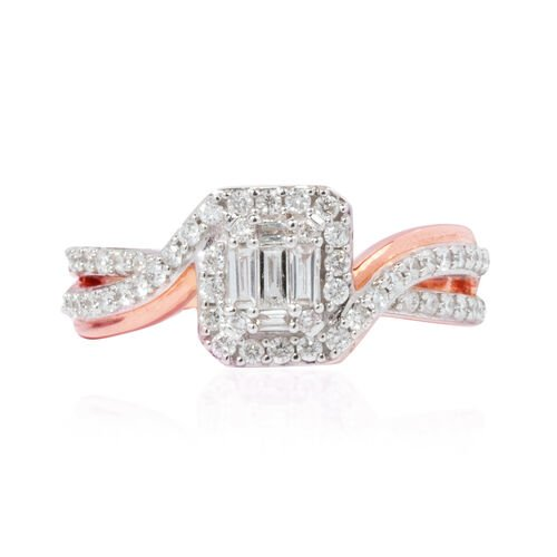 New York Close Out- Set of 2 14K Rose Gold Diamond (Bgt and Rnd) (I1-I2/G-H) Ring 1.000 Ct., Gold wt 7.50 Gms.
