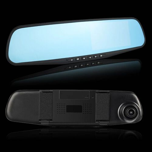 Rear View Mirror with Dash Cam  with G-Sensor, Motion Detection and Cyclic Recording INCLUDING 8GB MICRO SD CARD