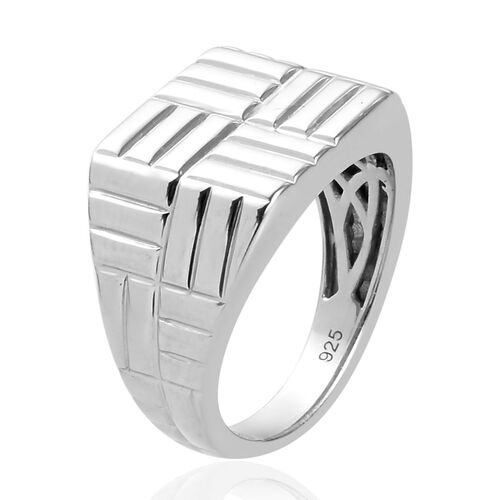 Platinum Overlay Sterling Silver Signet Ring, Silver wt. 5.10 Gms