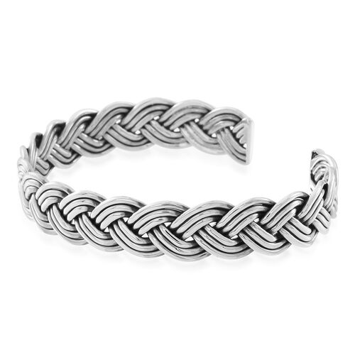 Vicenza Collection Sterling Silver Braided Bangle (Size 7.5), Silver wt. 23.00 Gms.