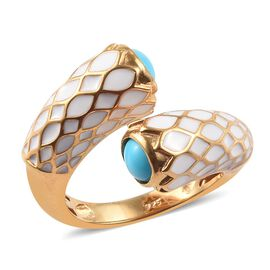 Tucson Close Out-Arizona Sleeping Beauty Turquoise Enamelled Bypass Ring in 14K Gold Overlay Sterlin