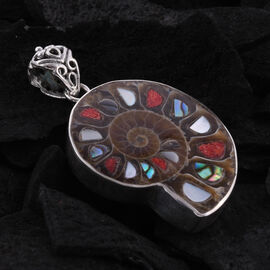 Royal Bali Collection - Ammonite, Abalone Shell, Mother of Pearl and Sponge Coral Pendant in Sterling Silver