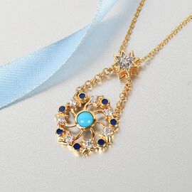Arizona Sleeping Beauty Turquoise and Natural Cambodian Zircon Enamelled Pendant with Chain (Size 18) in 14K Gold Overlay Sterling Silver 1.00 Ct, Silver Wt. 5.90 Gms
