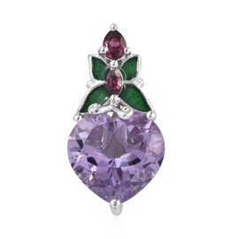 GP Rose De France Amethyst (Hrt 5.50 Ct), Rhodolite Garnet and Kanchanaburi Blue Sapphire Pendant in Platinum Overlay Sterling Silver 5.750 Ct.