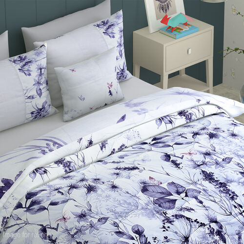 6 Piece Set - Flower and Leaves Pattern Comforter, Fitted Sheet, 2 Pillow Case and 2 Envelope Pillow Case (Size King) - White and Purple