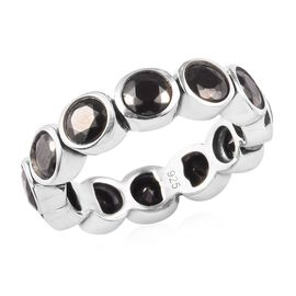 2.50 Ct Elite Shungite Bezel Set Eternity Band Ring in Silver