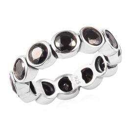 2.50 Ct Elite Shungite Bezel Set Eternity Band Ring in Silver