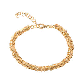 Italian Made Hand Knotted Bracelet in Gold Plated Silver 19.20 Grams 7 With 2 Inch Extender
