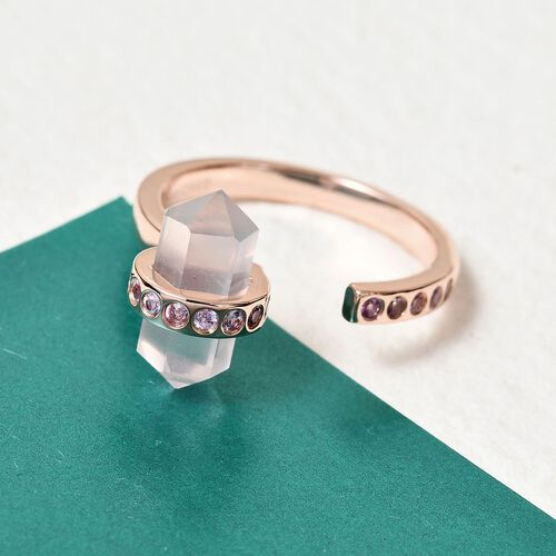 Sundays Child - Rose Quartz and Madagascar Pink Sapphire Ring in Rose Gold Overlay Sterling Silver 3.16 Ct.