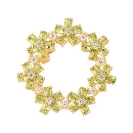 8.15 Ct Hebei Peridot and Zircon Circle Floral Pendant in Gold Plated Sterling Silver 6.61 Grams