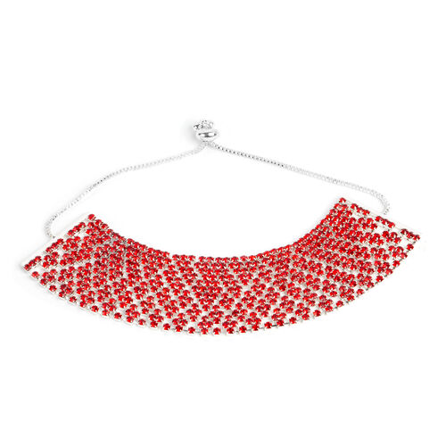 Red Austrian Crystal (Rnd) Adjustable Bracelet (Size 6 to 11) in Silver Tone