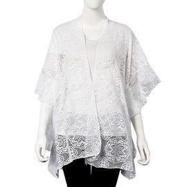 White Colour Floral Lace Kimono (Size 70x75 Cm)