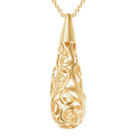LucyQ Air Drip Collection - Yellow Gold Overlay Sterling Silver Air Drip Pendant with Chain (Size 30