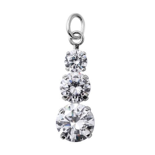 ELANZA Simulated Diamond (Rnd) Pendant in Rhodium Overlay Sterling Silver
