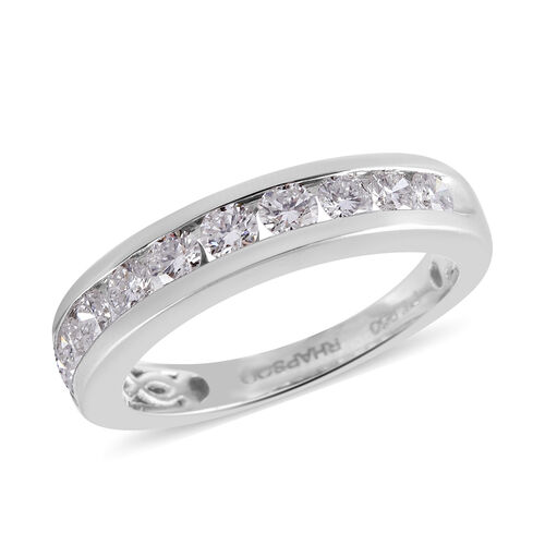 RHAPSODY 950 Platinum IGI Certified Diamond (Rnd) (VS/E-F) Half Eternity Band Ring  1.000 Ct.