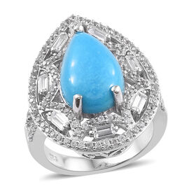 5.75 Ct Arizona Sleeping Beauty Turquoise and Cambodian Zircon Halo Ring in Sterling Silver 6.19 Gms