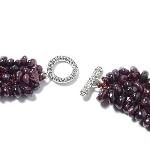3 Piece Set - Mozambique Garnet Necklace (Size 18), Stretchable Bracelet (Size 7) and Hook Earrings in Stainless Steel 927.74 Ct.