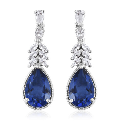 Ceylon Colour Quartz (Pear), Natural Cambodian Zircon Earrings (with Push Back) in Platinum Overlay Sterling Silver 11.750 Ct, Silver wt 6.32 Gms.