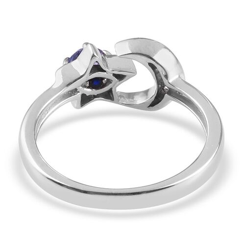 GP- Tanzanite, Natural Cambodian Zircon and Blue Sapphire Crescent Moon and Star Ring in Platinum Overlay Sterling Silver