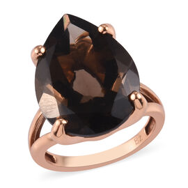 Brazilian Smoky Quartz Solitaire Ring in Bronze 14.25 Ct.