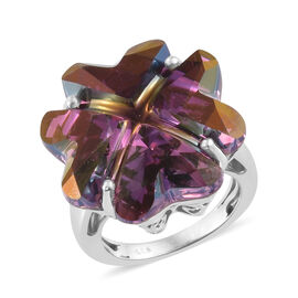 J Francis -Crystal From Swarovski Lilac Shadow Crystal Ring in  Platinum Overlay Sterling Silver