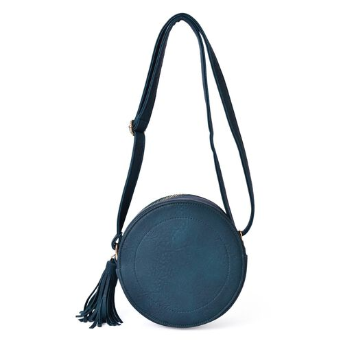 Dark Green Colour Canteen Crossbody Bag with Long Tassels and Adjustable Shoulder Strap (Size 19x19x8 Cm)