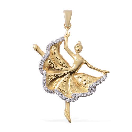 ELANZA Simulated Diamond (Rnd) Ballerina Pendant in Rhodium and Yellow Gold Overlay Sterling Silver