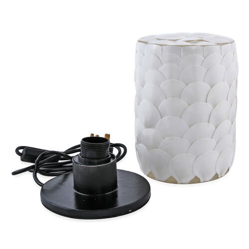 Bali Collection - Handcrafted Seashell ES Battery Table Lamp with Cylindrical Shape Armadillo Motif - White
