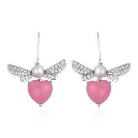 Pink Jade (11.00 Ct),Fresh Water Pearl ,White Zircon Sterling Silver Earring  13.060  Ct.