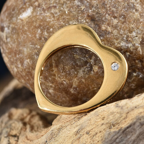 J Francis - 14K Gold Overlay Sterling Silver (Rnd) Heart Ring Made with SWAROVSKI ZIRCONIA