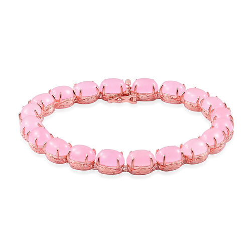 Pink Jade (Ovl) Dragon Bracelet (Size 7.5) in Rose Gold Overlay Sterling Silver 43.750 Ct. Silver wt 12.50 Gms.