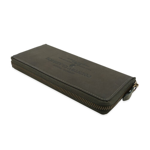 MCS Country Classics 100% Genuine Leather Wallet (20x10x2 Cm) - Dark Green
