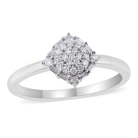 9K White Gold SGL Certified Diamond (Rnd and Bgt) (I3/G-H) Cluster Ring 0.20 Ct.