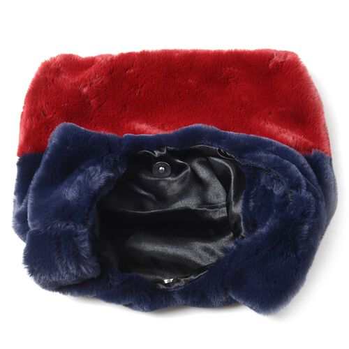 Red and Blue Colour Faux Fur Handbag (Size 25x38 Cm) and Scarf (Size 12x88Cm)