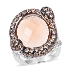 Simulated Morganite and Simulated Champagne Diamond Halo Ring in Silver Tone