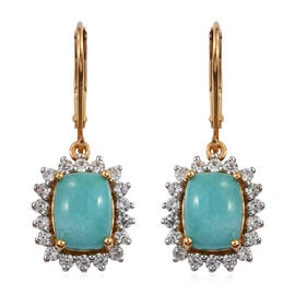 2.9 Ct Peruvain Amazonite Drop Halo Earrings in Gold Plated Sterling Silver With Lever Back