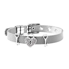 White Austrian Crystal Love Heart Lock and Key Mesh Chain Bracelet in Stainless Steel 6 to 7 Inch