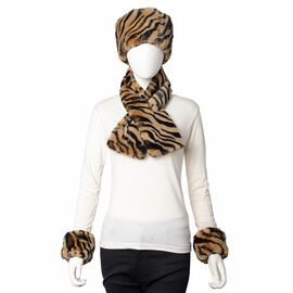 3 Piece Set - Faux Fur Zebra Print Hat, Scarf and Cuff Bracelet - Black and Brown