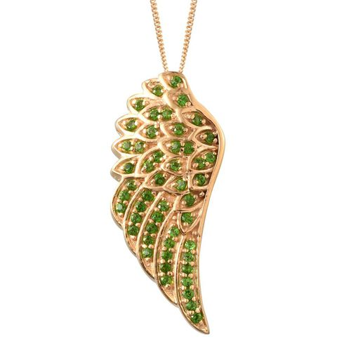 Russian Diopside (Rnd) Angel Wing Pendant with Chain (Size 18) in 14K Gold Overlay Sterling Silver 0.750 Ct.