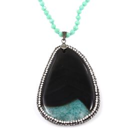 One Time Deal- Green Drusy Agate Geode (Ovl 48x30 mm) with Hematite Necklace (Size 33)  in Silver Plated
