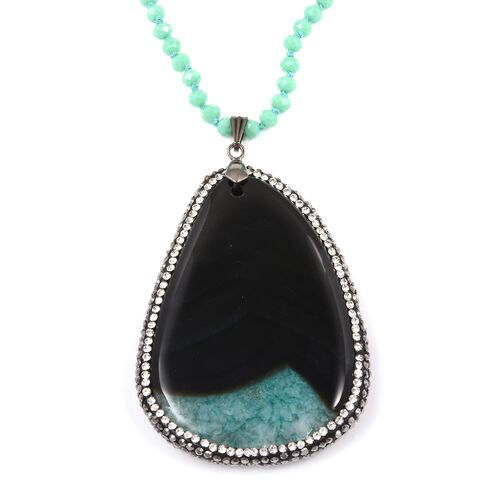 One Time Deal- Green Drusy Agate Geode (Ovl 48x30 mm) with Hematite Necklace (Size 33)  in Silver Pl