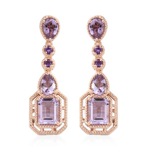 Rose De France Amethyst (Oct), Amethyst Earrings (with Push Back) in Rose Gold Overlay Sterling Silver 7.000 Ct. Silver wt 7.75 Gms.