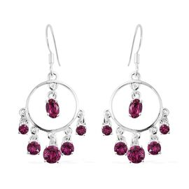 J Francis Crystal from Swarovski - Fuchsia Colour Crystal (Ovl and Rnd) Chandelier Hook Earrings in Sterling Silver, Silver wt 4.98 Gms.