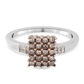 GP Natural Champagne Diamond, White Diamond and Kanchanaburi Blue Sapphire Ring in Platinum Overlay